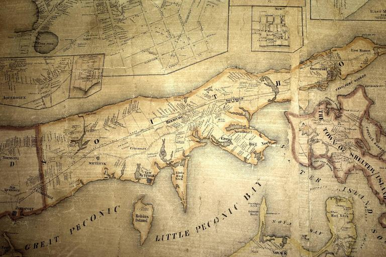 Mid 19th Century Wall Map Of Long Island The Hamptons For