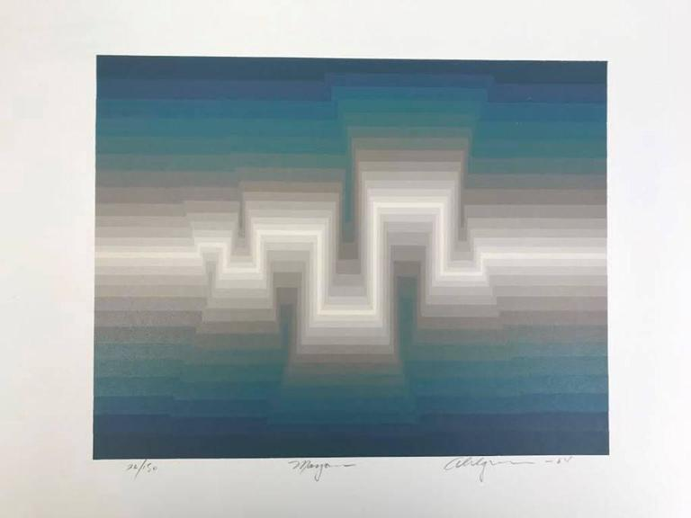 A very mesmerizing silk screen-print by American artist Roy Ahlgren. The print is hand signed, numbered (26/150) titled and dated 1984 by the artist. Will look fantastic in any setting.  Many of Ahlgren's abstract, geometrical compositions are