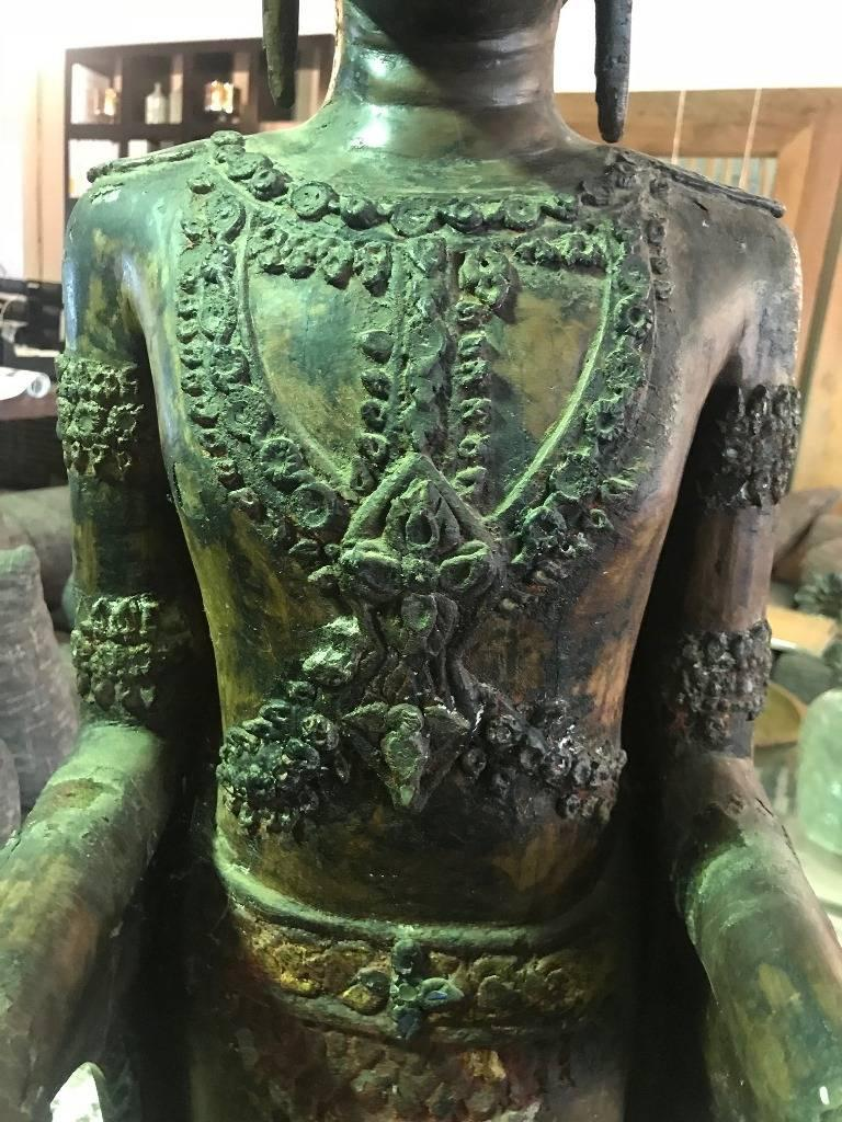 Hand-Carved Large Carved Wood, Lacquer and Gilt Standing Thai/ Laotian Buddha on Base For Sale