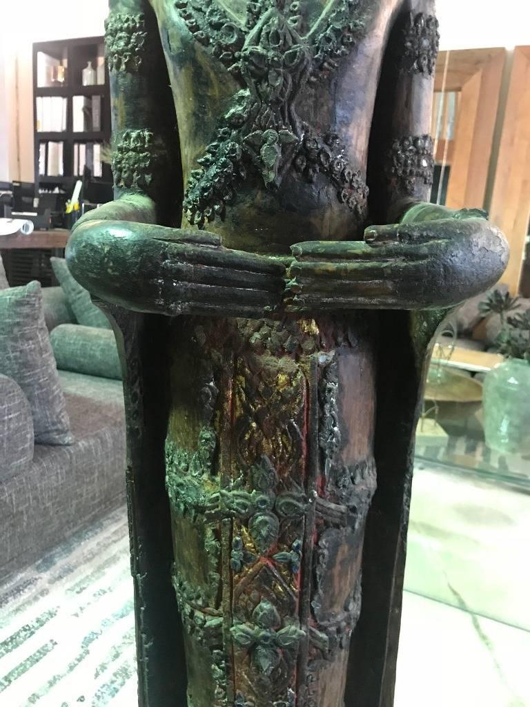 Large Carved Wood, Lacquer and Gilt Standing Thai/ Laotian Buddha on Base In Good Condition For Sale In Studio City, CA