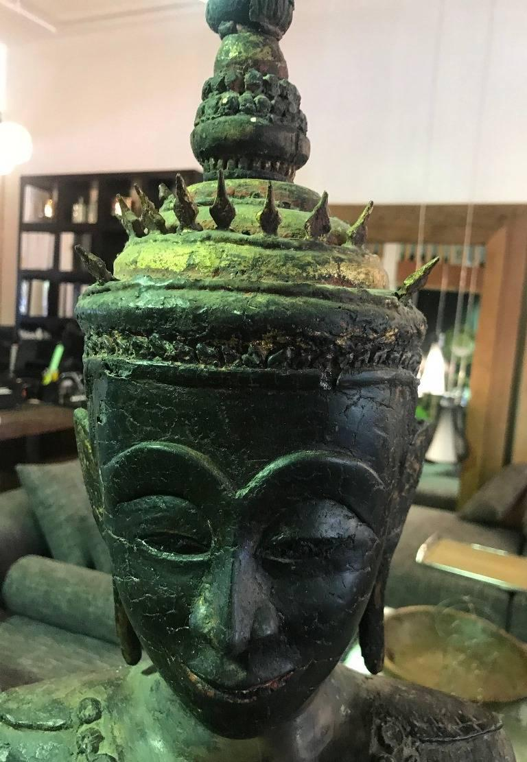 Large Carved Wood, Lacquer and Gilt Standing Thai/ Laotian Buddha on Base For Sale 2