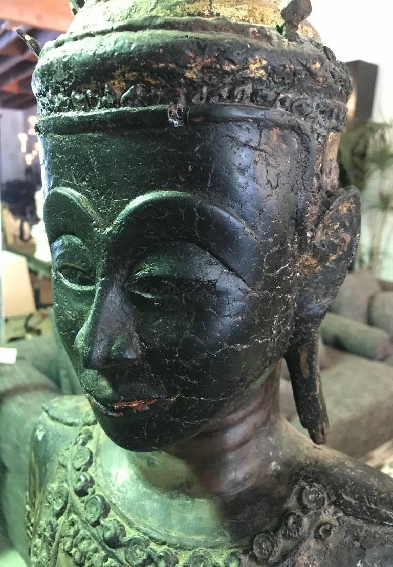 Large Carved Wood, Lacquer and Gilt Standing Thai/ Laotian Buddha on Base For Sale 4
