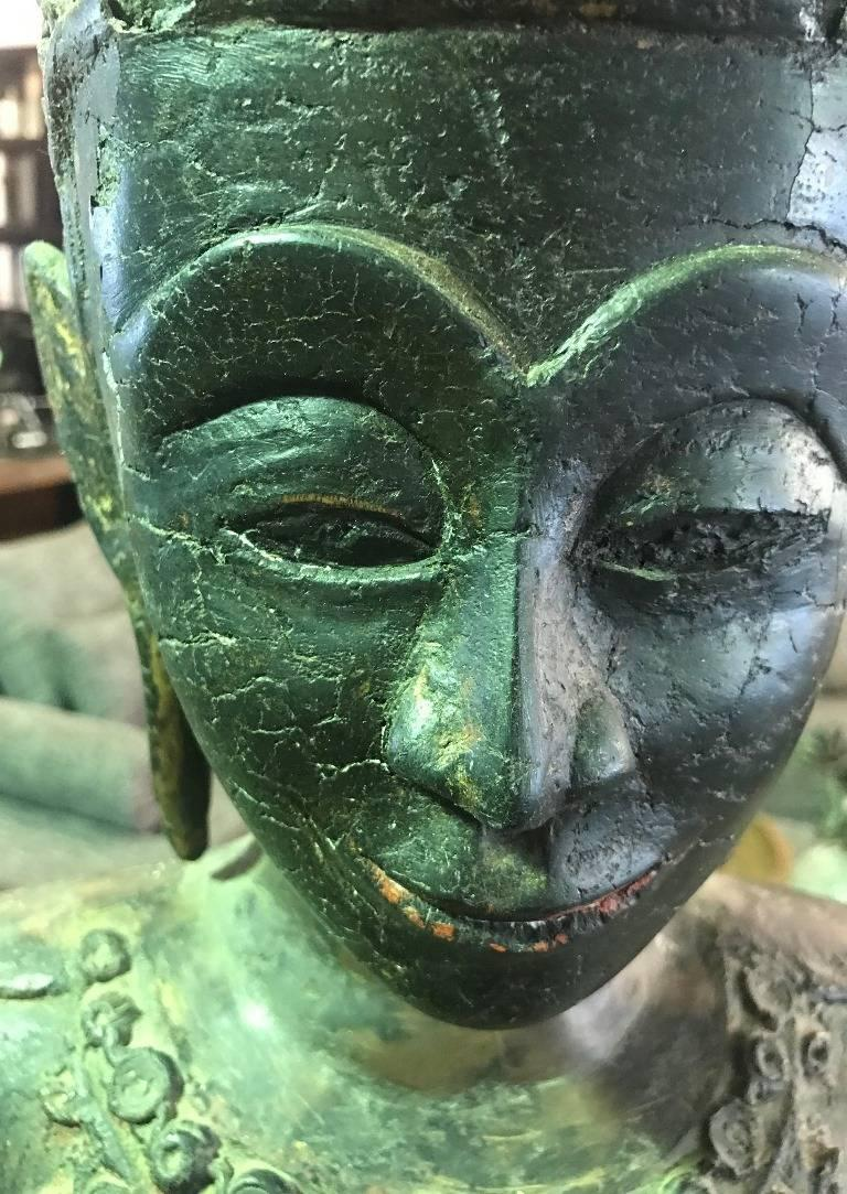 Large Carved Wood, Lacquer and Gilt Standing Thai/ Laotian Buddha on Base For Sale 5