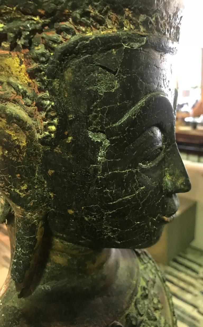 Large Carved Wood, Lacquer and Gilt Standing Thai/ Laotian Buddha on Base For Sale 6