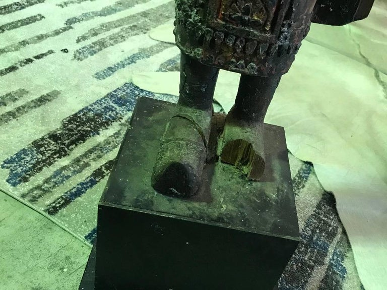 Large Carved Wood, Lacquer and Gilt Standing Thai/ Laotian Buddha on Base For Sale 8