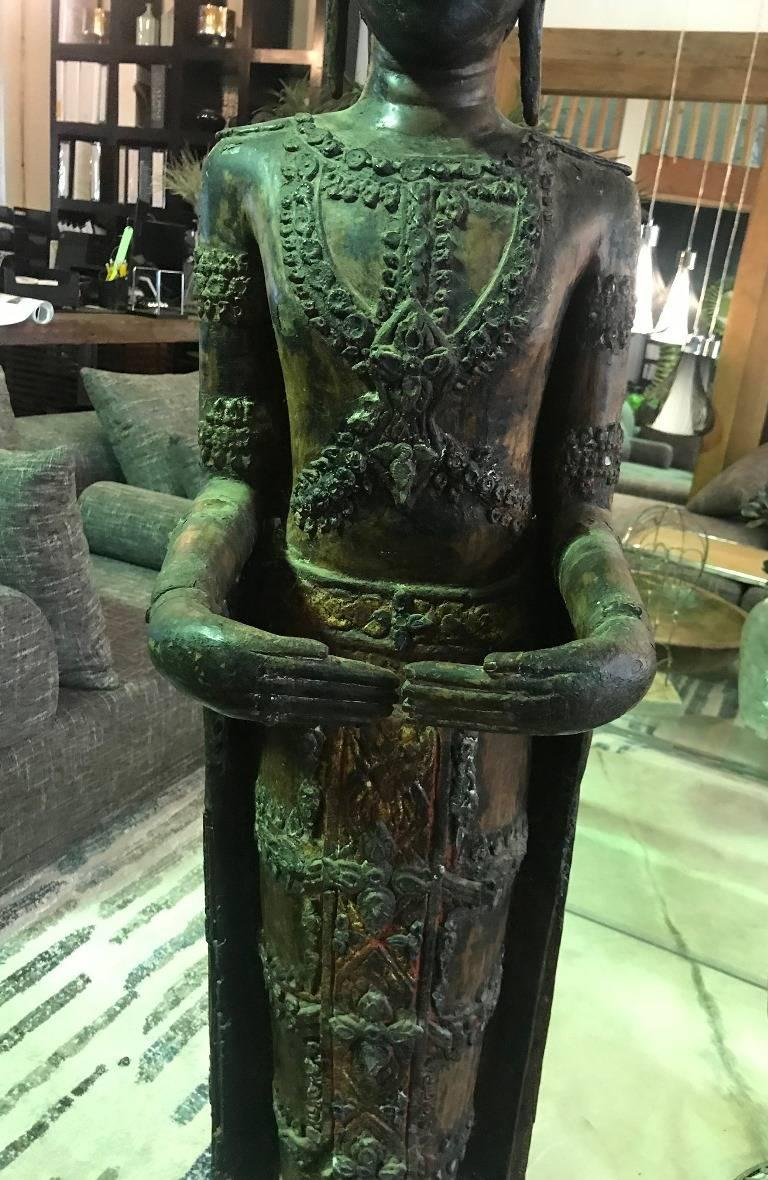 Large Carved Wood, Lacquer and Gilt Standing Thai/ Laotian Buddha on Base For Sale 10