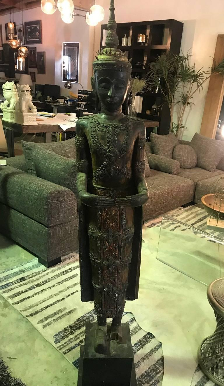 Large Carved Wood, Lacquer and Gilt Standing Thai/ Laotian Buddha on Base For Sale 11