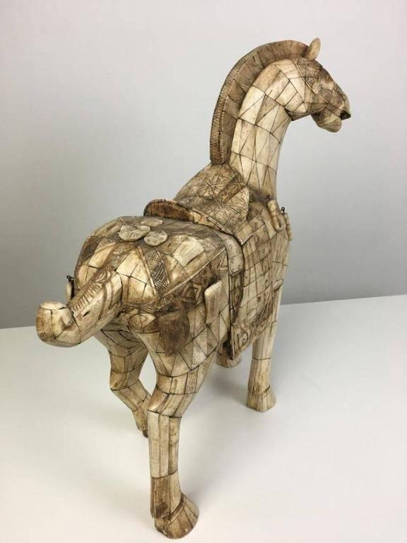 Chinese Export Large Chinese Vintage Bone Horse Sculpture Figure For Sale