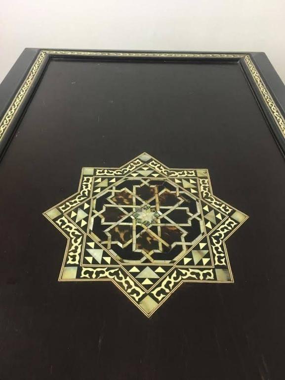 Syrian Moorish Ebonized and Inlaid Table For Sale