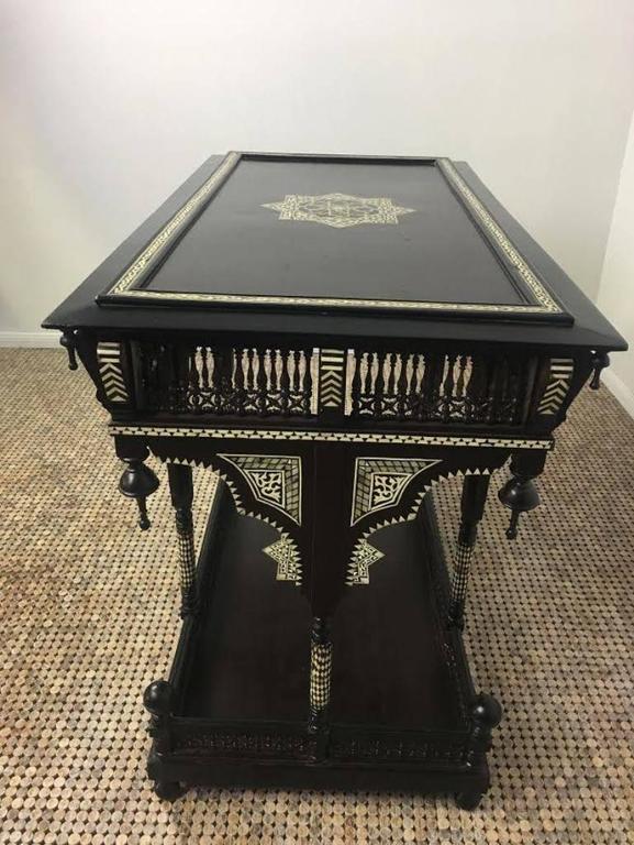 Inlay Moorish Ebonized and Inlaid Table For Sale