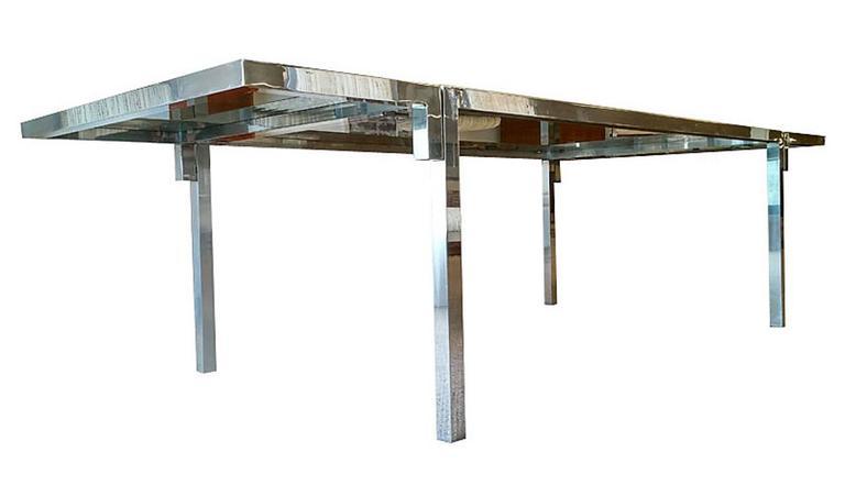Mid Century Modern Mid Century Modern Aluminium And Smoked Glass Dining  Table, Circa 1970s