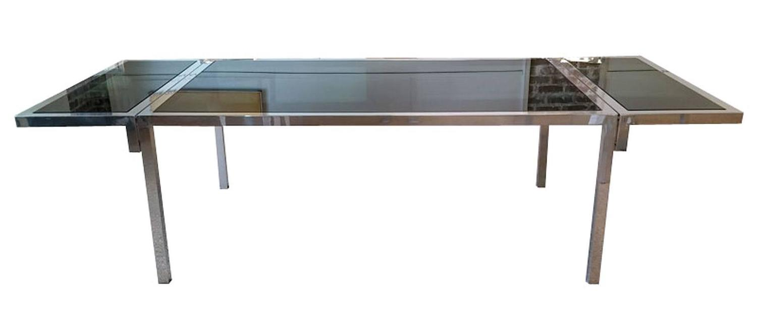 Vintage aluminium and smoked glass dining table for sale for 108 inch dining room table