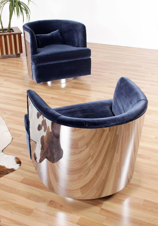 Restored pair of milo baughman blue barrel chairs at 1stdibs