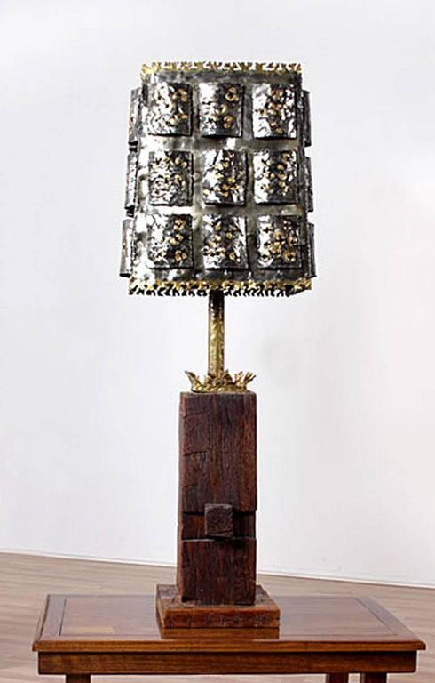 Torch Cut Brutalist Table Lamp With Nakashima Style Wood