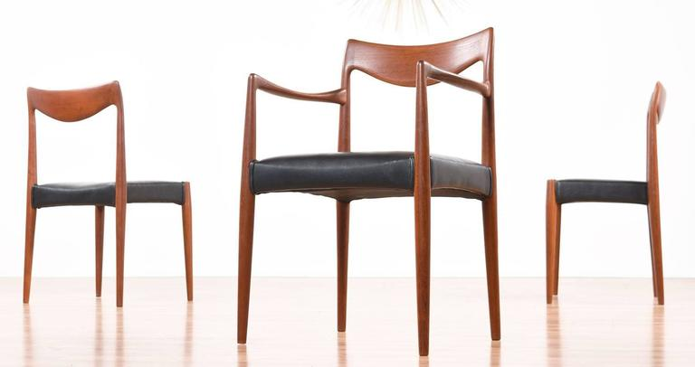 Fabulous group of six early Mid-Century Modern Norwegian teak dining chairs by Gustav Bahus. The