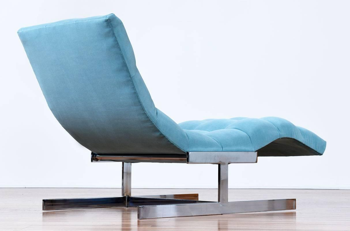 Restored mid century modern milo baughman style wave for Chaise longue wave