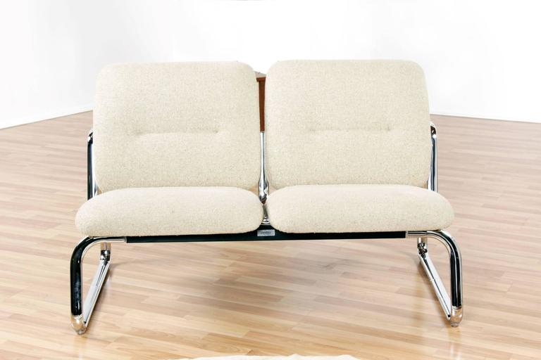 Post Modern Vintage Modern Steelcase Chrome Loveseat Couch For Sale