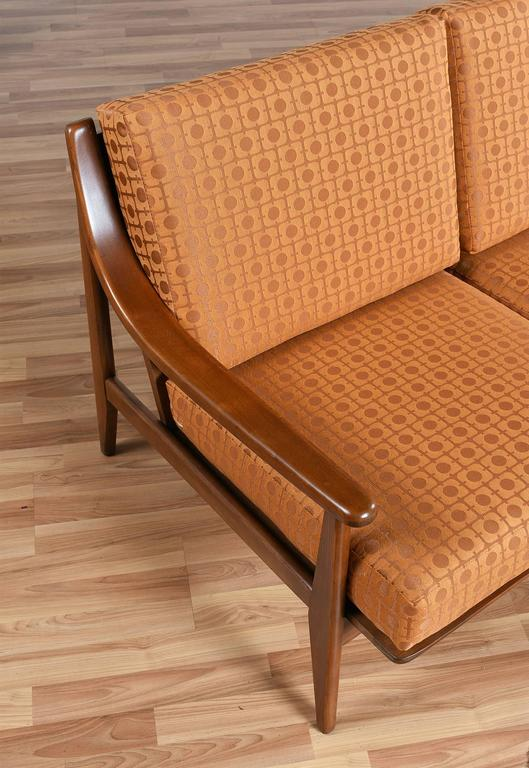 restored mid century modern sofa in burnt orange at 1stdibs