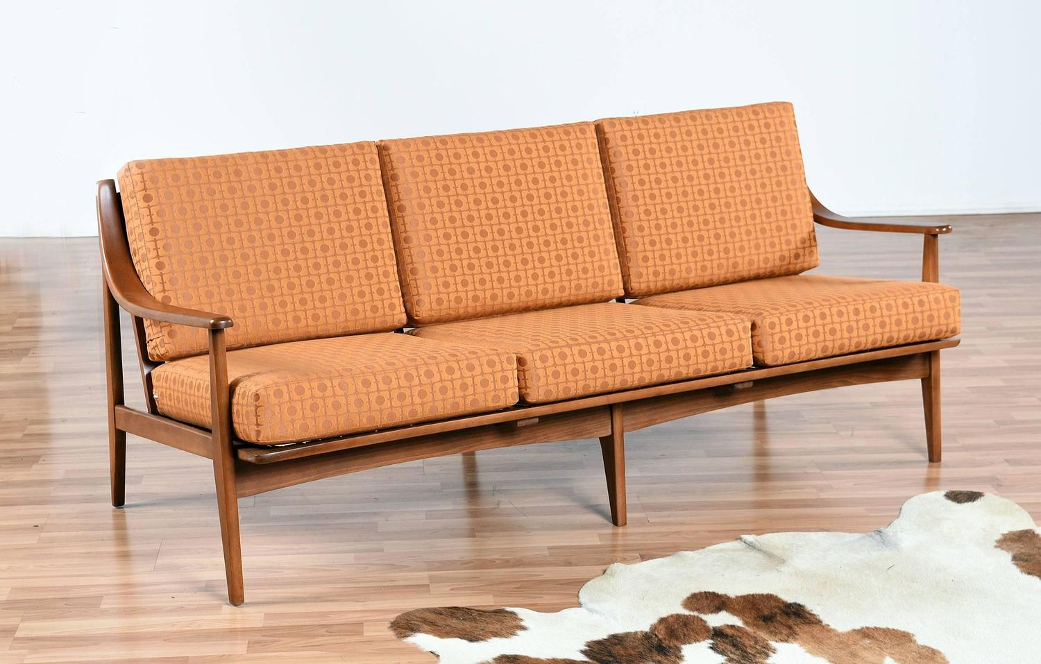 Restored mid century modern sofa in burnt orange at 1stdibs for Mid century furniture florida