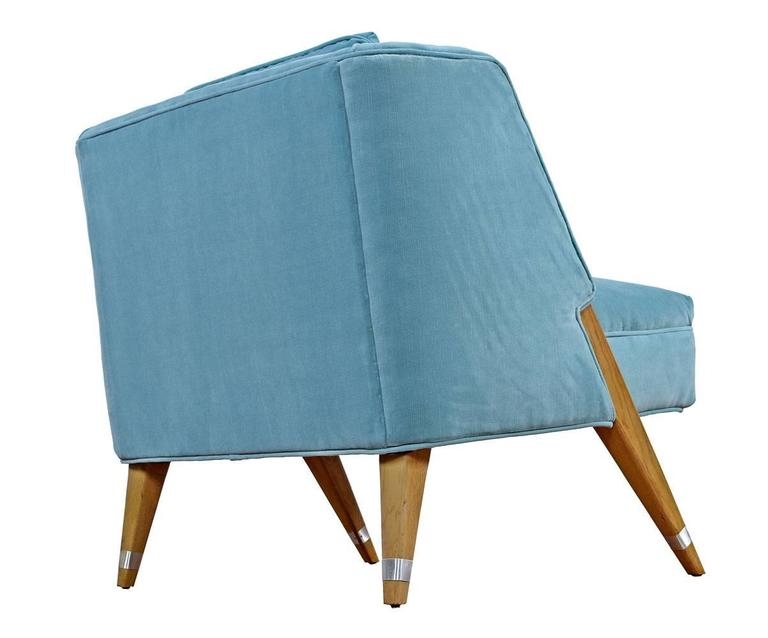 Mid-Century Modern Restored Petit Velvet Compass Leg Cerused Chairs, circa 1960's For Sale