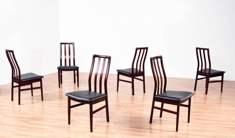 Scandinavian Modern Danish Rosewood Dining Chairs - Slat High Back For Sale