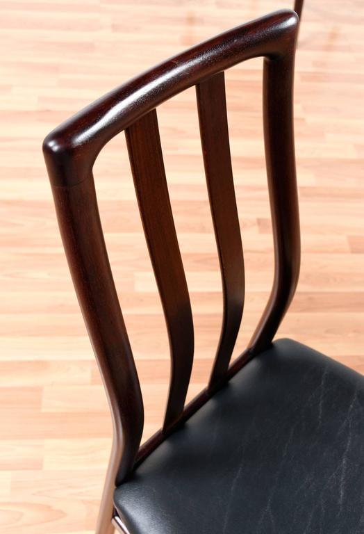 Danish Rosewood Dining Chairs - Slat High Back For Sale 1
