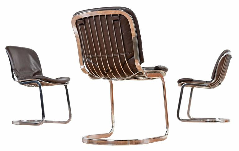 Mid Century Modern Willy Rizzo Style Italian Chrome And Leather Chairs By Cid