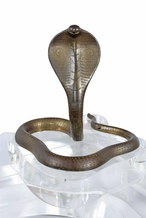 Modern Vintage Brass and Lucite Cobra Snake Double Pen Caddy For Sale