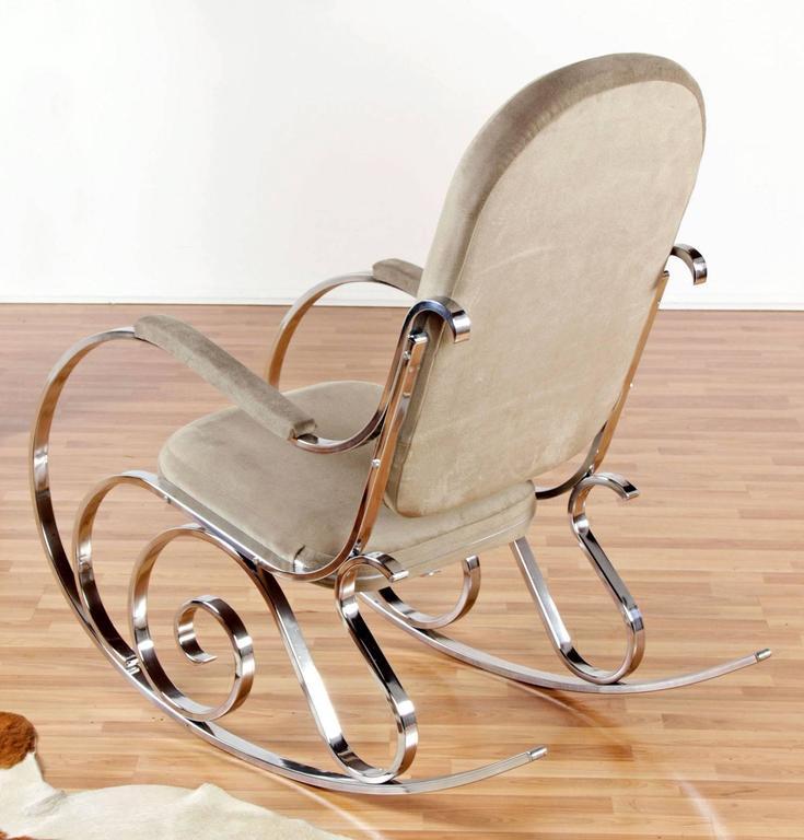 Mid Century Modern Maison Jansen Chrome Rocking Chair With New Velour Fabric,  1970u0027s For