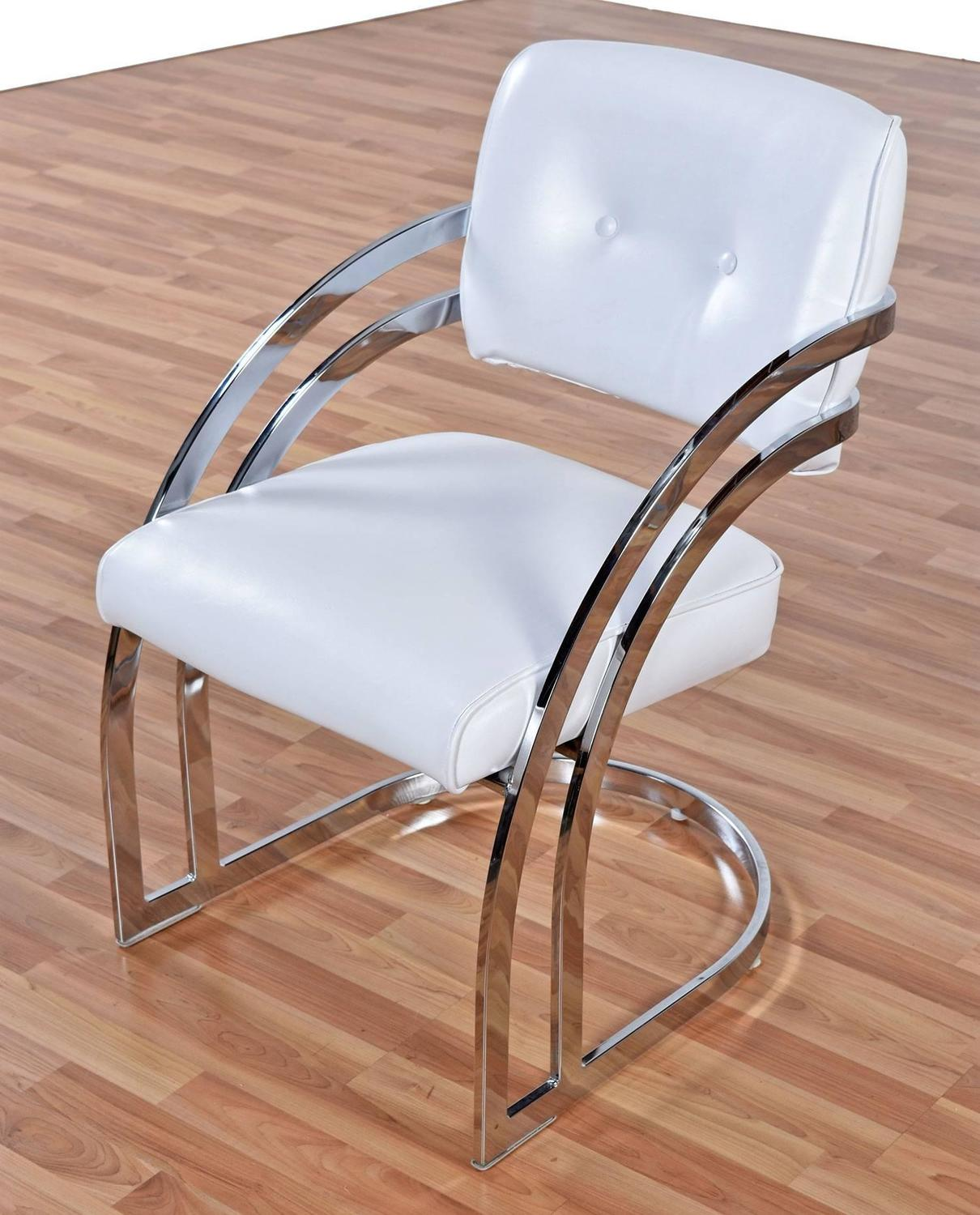 post modern chrome cantillevar dining room chairs set of four for