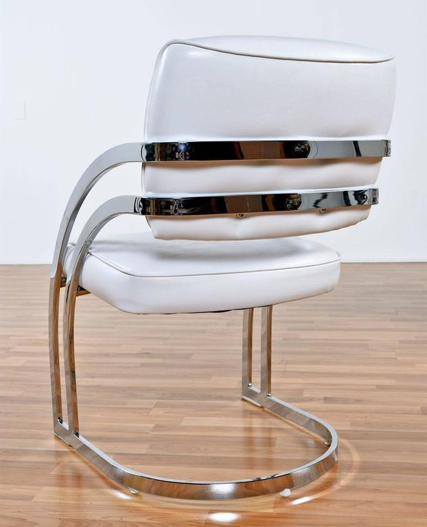 Chrome Dining Room Chairs: Post Modern Chrome Cantillevar Dining Room Chairs At 1stdibs