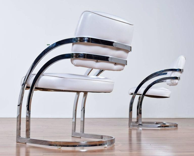 post modern chrome cantillevar dining room chairs at 1stdibs chrome dining room arm chair foter