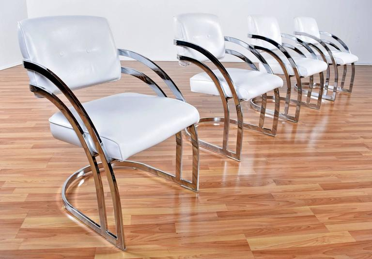 this post modern chrome cantillevar dining room chairs is no longer