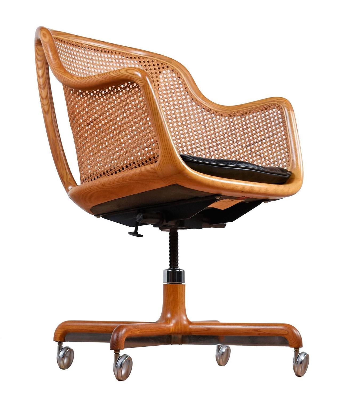 Mid Century Modern Cane Swivel Desk Chair By Ward Bennett