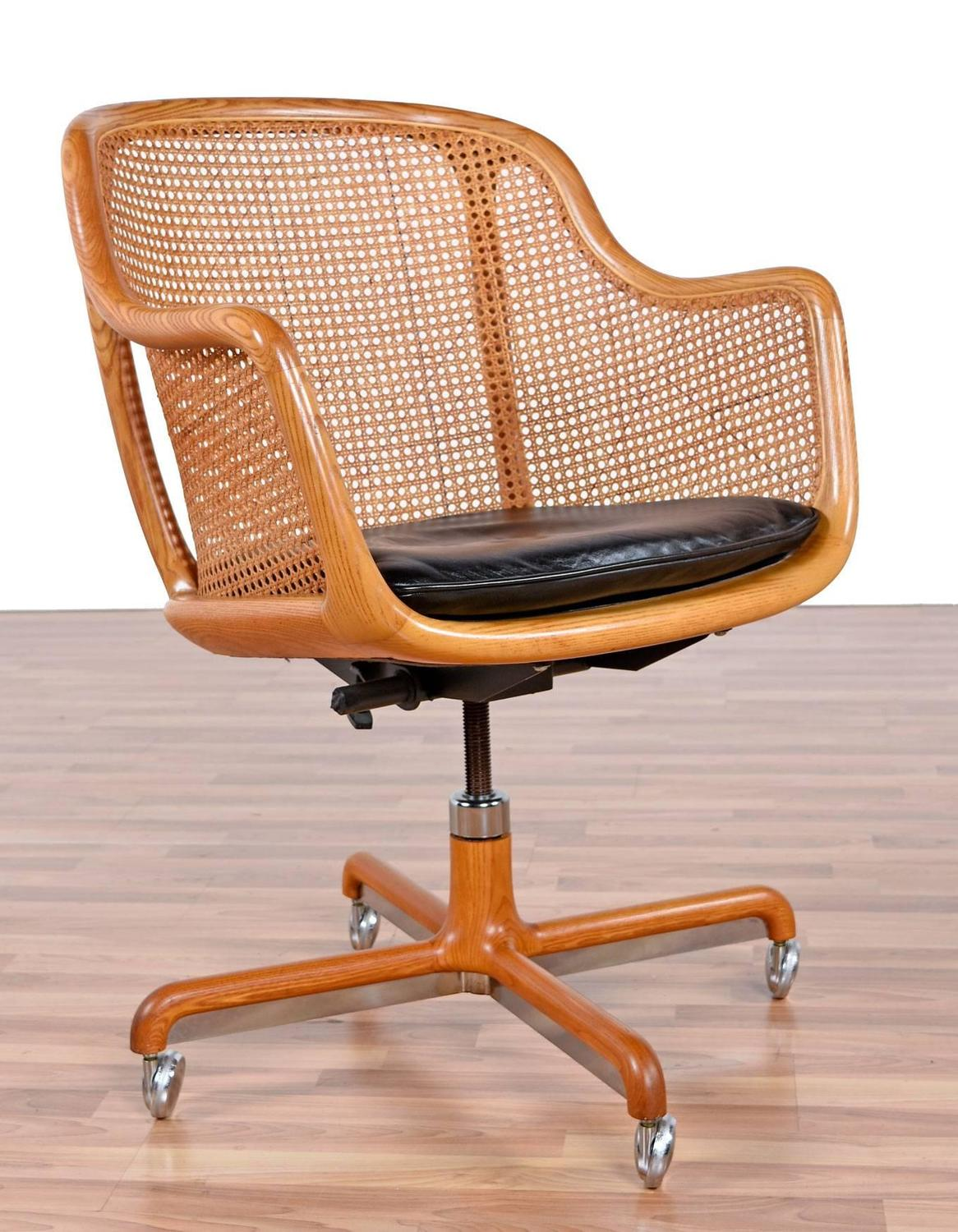 Mid Century Modern Cane Swivel Desk Chair By Ward Bennett At 1stdibs