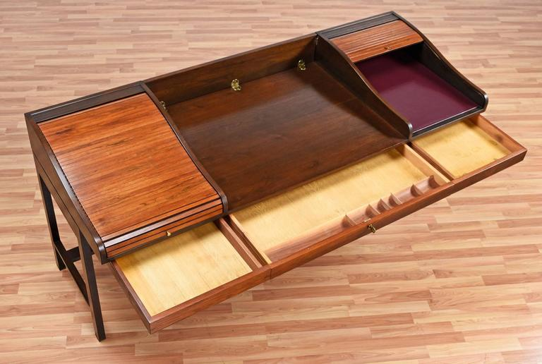 Mid-20th Century Edward Wormley for Dunbar Executive Rosewood Roll-Top Desk For Sale