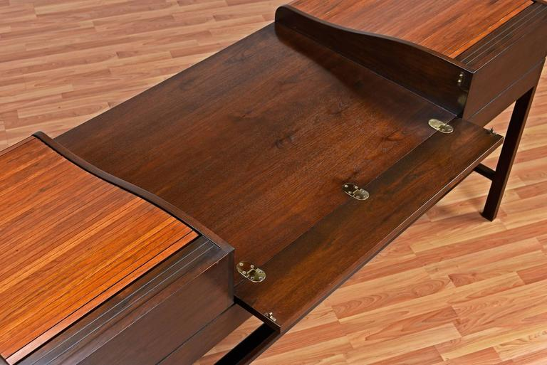 Mid-Century Modern Edward Wormley for Dunbar Executive Rosewood Roll-Top Desk For Sale
