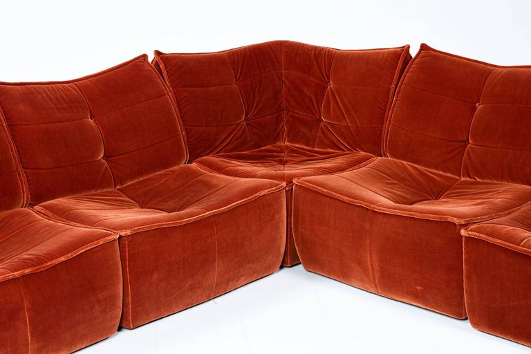 1970s Velvet Modular Sectional Sofa At 1stdibs