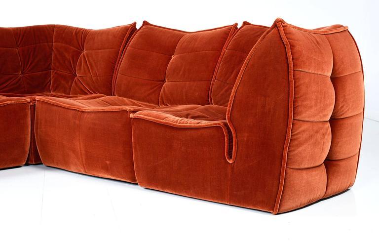 1970s Velvet Modular Sectional Sofa At 1stdibs