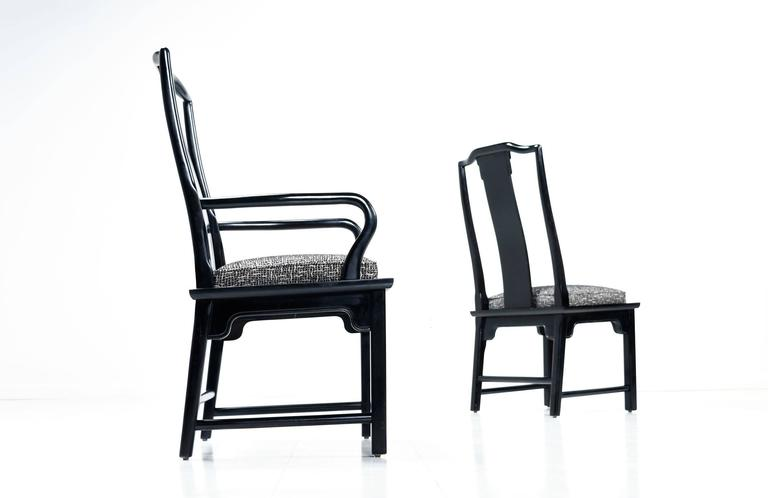 Black Lacquer Chin Hua Dining Chairs By Century For Sale