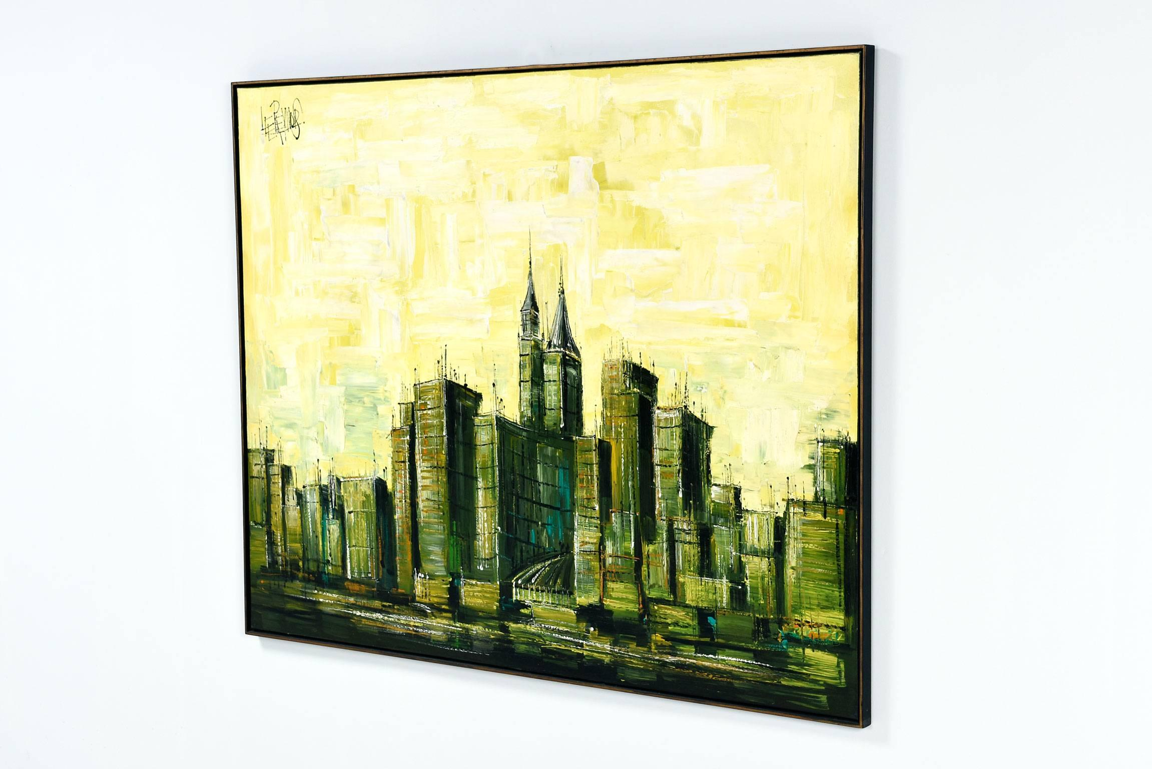 Mid-Century Modern Lee Reynolds Cityscape Painting For Sale at 1stdibs