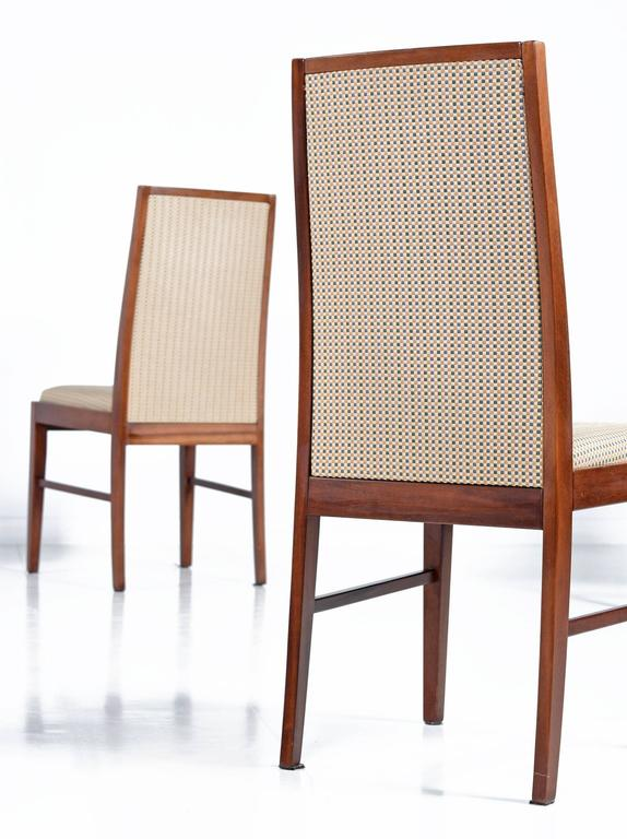 Mid Century Modern Set Of 8 Skovby Danish Rosewood Upholstered High Back  Dining Chairs For