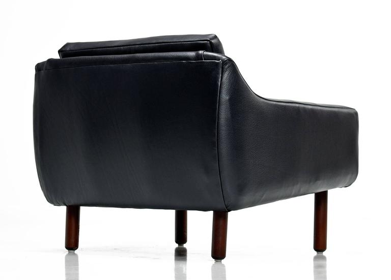 Svend Skipper Style Black Leather Wingback and Low Back Lounge Chairs For Sale 4