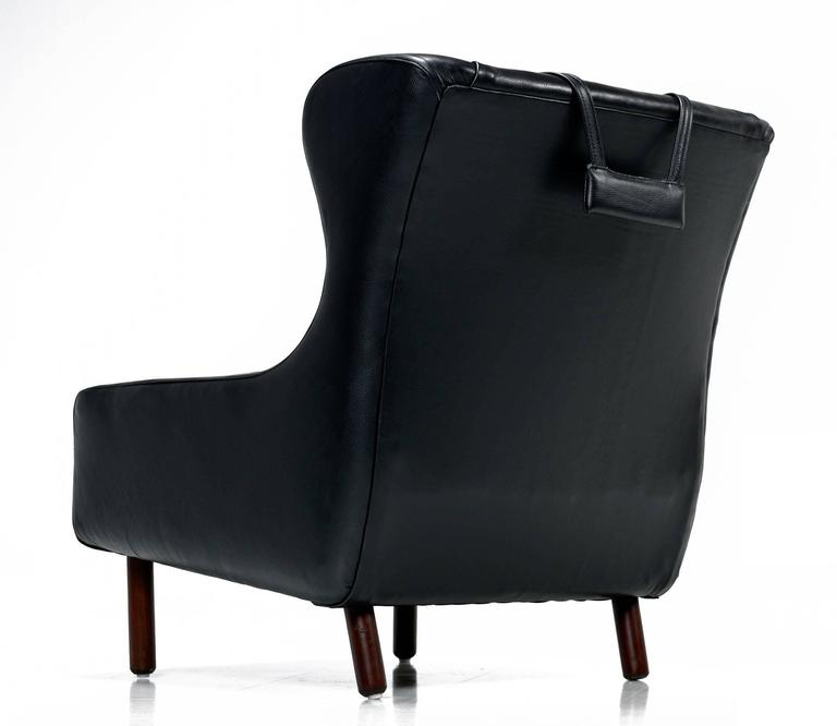 Svend Skipper Style Black Leather Wingback and Low Back Lounge Chairs For Sale 2