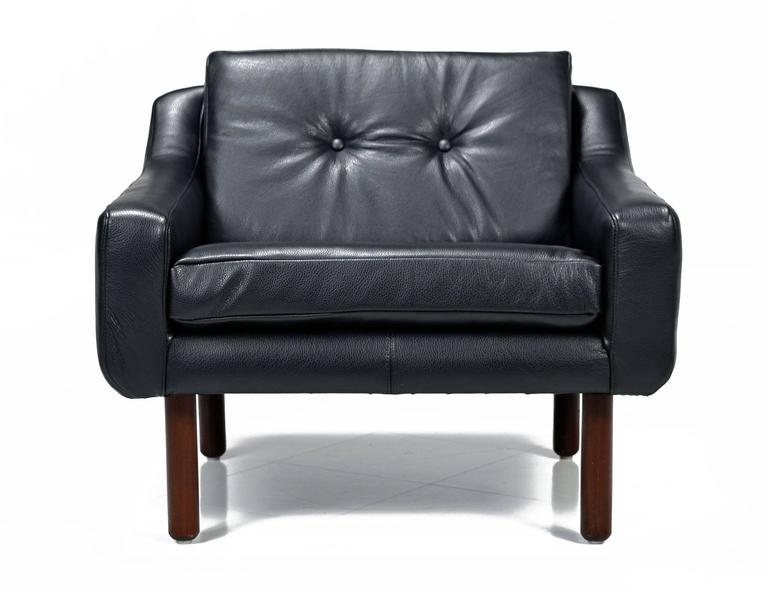Mid-Century Modern Svend Skipper Style Black Leather Wingback and Low Back Lounge Chairs For Sale