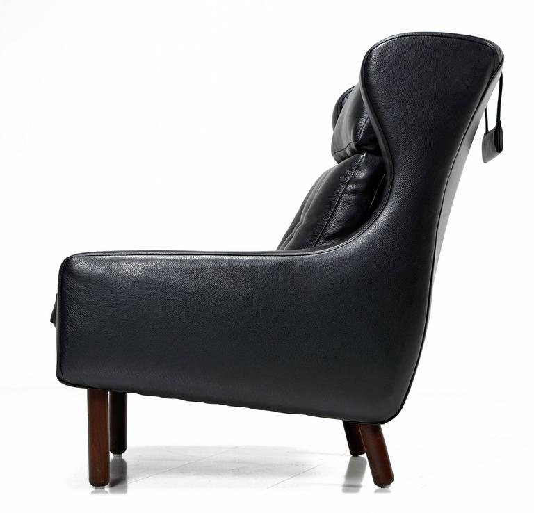 Svend Skipper Style Black Leather Wingback And Low Back