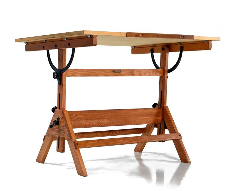 Original Drafting Table Manufactured By Hamilton In The US In The 1940s.  This Large Work