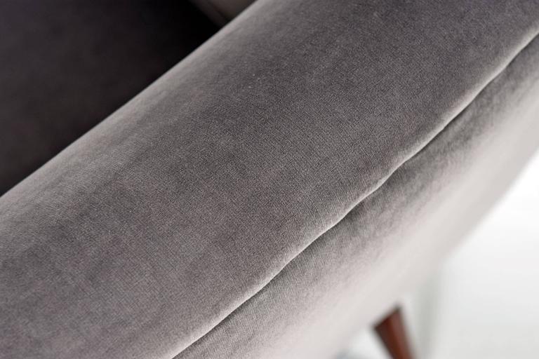 Mid Century Wegner Style His And Hers Grey Velvet Lounge