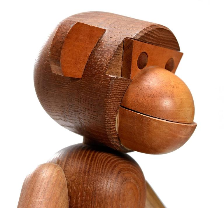 1950s Kay Bojesen Style Large Posable Teak Monkey