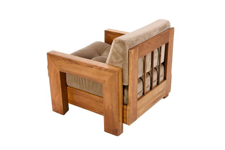 American Mission Style Cube Oak Lounge Chair, 1970s For Sale
